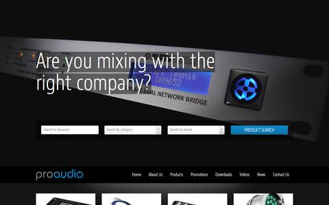 Screenshot of Home Page proaudio.co.za - Proaudio Home | Are you mixing with the right company?Get a reliable range of professional audio equipment - captured Dec. 13, 2015