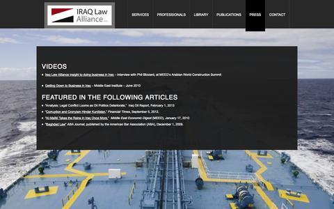 Screenshot of Press Page iqilaw.com - Press | Iraq Law AllianceIraq Law Alliance - captured Oct. 6, 2014