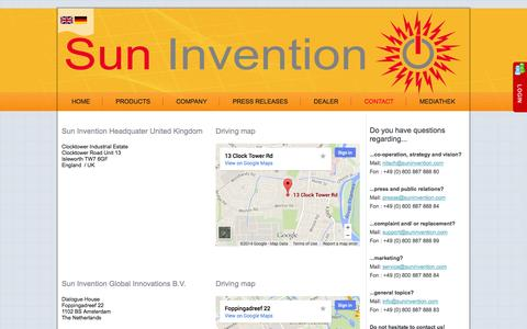 Screenshot of Locations Page suninvention.com - locations - captured Sept. 30, 2014