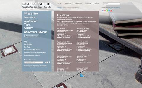 Screenshot of Locations Page gstile.com - Locations - Garden State Tile Design Centers - captured Nov. 1, 2014