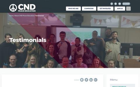 Screenshot of Testimonials Page cnduk.org - Testimonials - Campaign for Nuclear Disarmament - captured Sept. 26, 2018