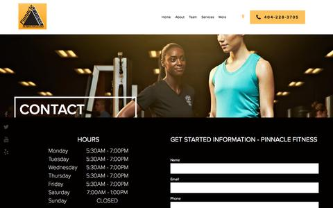 Screenshot of Contact Page pinnaclefitnessgym.com - Contact - Pinnacle Fitness - captured May 18, 2017