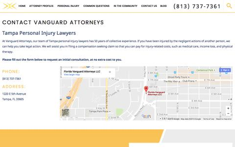 Screenshot of Contact Page vanguardattorneys.com - Contact Us | Tampa Personal Injury Lawyer - captured Nov. 28, 2016