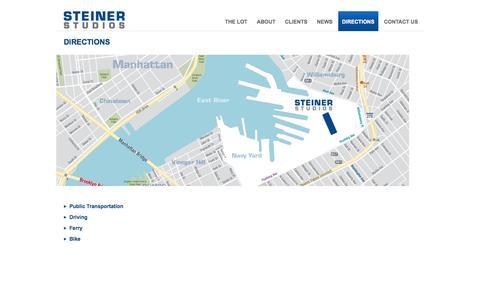 Screenshot of Maps & Directions Page steinerstudios.com - Directions | Steiner Studios - captured Oct. 1, 2014