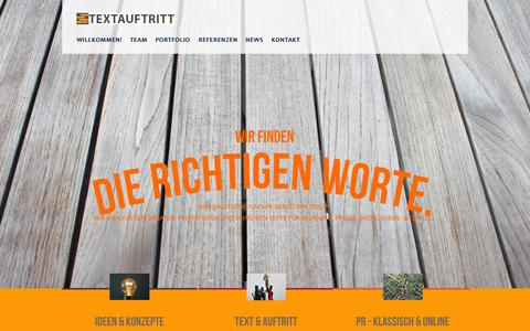 Screenshot of Home Page textauftritt.de - Willkommen! - captured Oct. 9, 2014