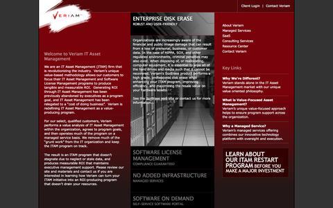 Screenshot of Home Page veriam.com - Veriam IT Asset Management and Software License Management - captured Feb. 24, 2016