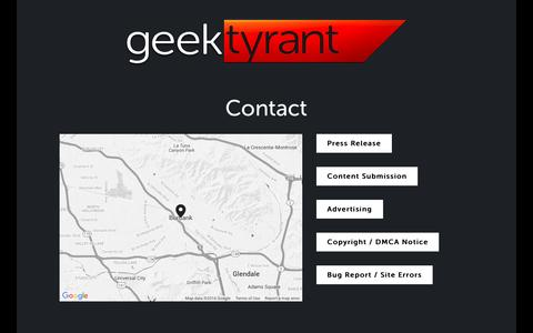 Screenshot of Contact Page geektyrant.com - Contact — GeekTyrant - captured Feb. 27, 2016