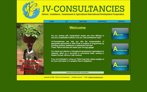 Screenshot of Home Page jv-consultancies.com - JV-Consultancies - advice, assistance, assessment in agricultural international development cooperation - captured Sept. 30, 2014