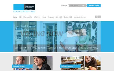 Screenshot of Home Page Menu Page cecc.org.nz - Canterbury Networking | Business Support » Canterbury Employers' Chamber of Commerce - captured Oct. 1, 2014