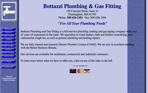 Screenshot of Home Page bottazziplumbing.com - Bottazzi Plumbing & Gas Fitting - captured Oct. 5, 2014