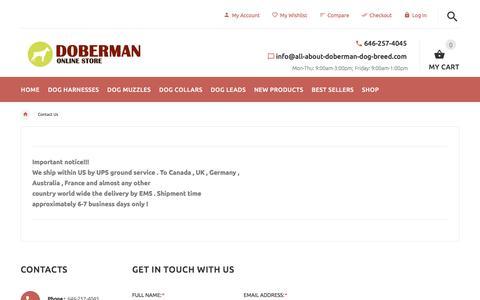 Screenshot of Contact Page all-about-doberman-dog-breed.com - Contact Us : Doberman dog harness, Doberman dog muzzle, Doberman dog collar, Dog leashes - captured Jan. 31, 2018