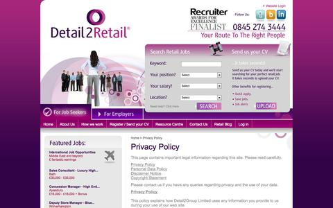 Screenshot of Privacy Page detail2retail.com - Job Vacancies in Retail from Detail2Retail Recruitment Agency - Detail2Retail , - captured Sept. 30, 2014