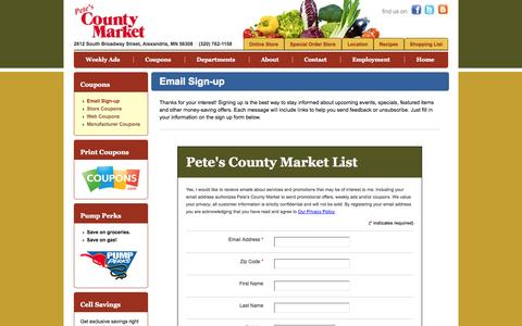 Screenshot of Signup Page petescountymarket.com - Pete's County Market :: Email Sign-up - captured Sept. 29, 2014