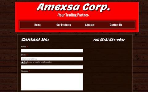 Screenshot of Contact Page amexsacorp.com - Contact Us - captured Dec. 25, 2015