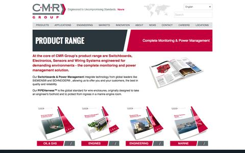 Screenshot of Products Page cmr-group.com - Product Range - captured Oct. 1, 2014