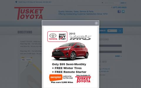 Screenshot of Maps & Directions Page tuskettoyota.ca - Tusket Toyota | New Toyota dealership in Yarmouth, NS B5A 4B1 - captured Feb. 16, 2016