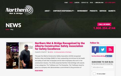 Screenshot of Blog northernmat.ca - Northern Mat & Bridge News - captured Nov. 4, 2017