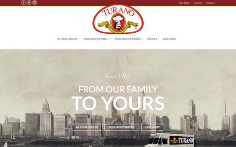 Screenshot of Home Page turano.com - Home - Turano Baking Co - captured Oct. 9, 2015