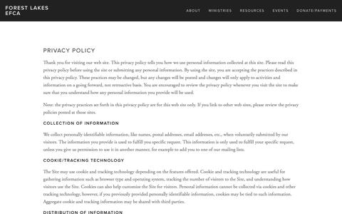 Screenshot of Privacy Page forestlakes-efca.org - Privacy Policy — Forest Lakes EFCA - captured Dec. 19, 2018