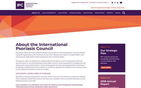 Screenshot of About Page psoriasiscouncil.org - About IPC - International Psoriasis Council - captured Feb. 10, 2020