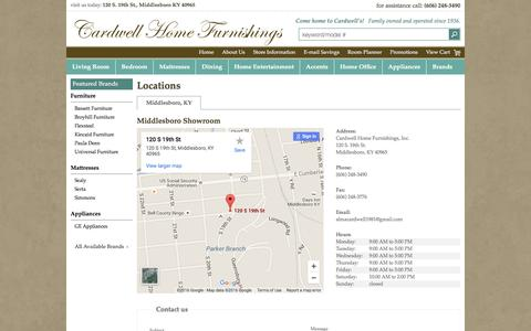 Screenshot of Contact Page Locations Page cardwellhomefurnishings.com - Contact Cardwell Home Furnishings, Inc. in Kentucky - captured June 24, 2016