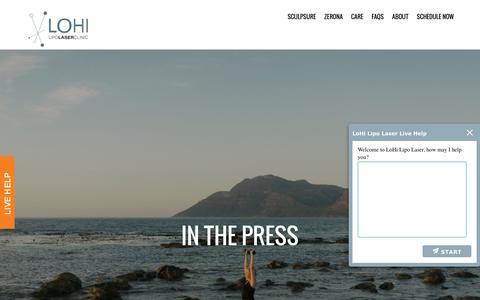 Screenshot of Press Page lohilipolaser.com - Press - LoHi Lipo Laser - captured July 15, 2016