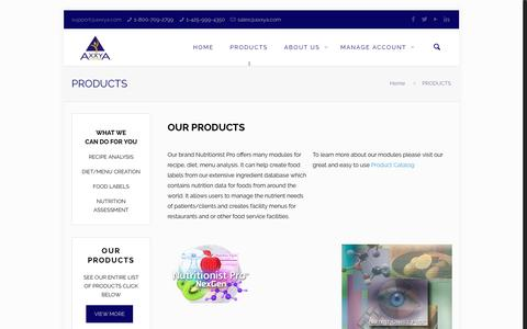 Screenshot of Products Page axxya.com - PRODUCTS | Axxya Systems – Home of Nutritionist Pro(TM) - captured Nov. 21, 2016