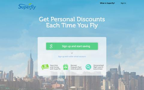 Screenshot of Home Page superfly.com - Superfly - Home for Elite Travelers - captured Sept. 10, 2015