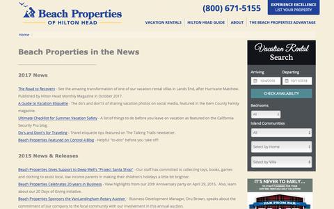 Screenshot of Press Page beach-property.com - In the News | Beach Properties of Hilton Head - captured Oct. 5, 2018