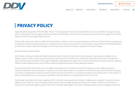 Screenshot of Privacy Page ddvc.com - Privacy Policy | Contact Center Consulting, IVR, CTI | Digital DataVoice - captured Oct. 9, 2018
