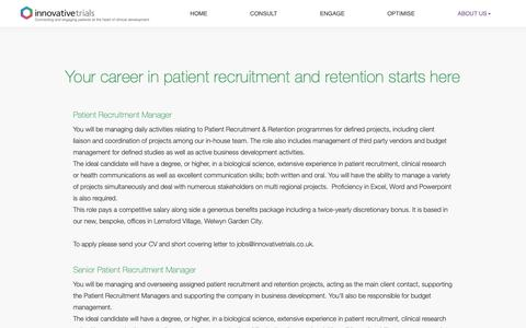 Screenshot of Jobs Page innovativetrials.co.uk - Vacancies - Your career in patient recruitment and retention starts here - captured Nov. 6, 2018