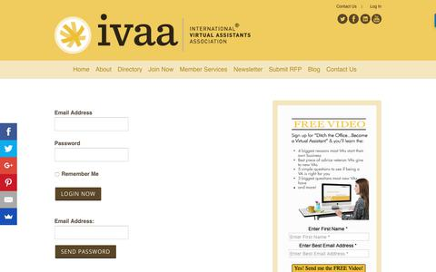 Screenshot of Login Page ivaa.org - Member Login - IVAA - captured Nov. 14, 2018