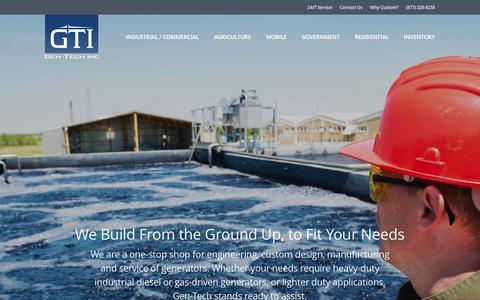 Screenshot of Home Page gen-tech.net - Custom Generator Manufacturer | Gen-Tech - captured Jan. 27, 2016