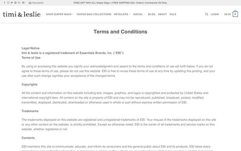 Screenshot of Terms Page timiandleslie.com - Terms and Conditions | timi & leslie Designer Diaper Bags - captured Sept. 28, 2018