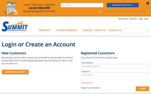 Screenshot of Login Page summitir.com - Customer Login  | Summit Information Resources - captured Dec. 3, 2016