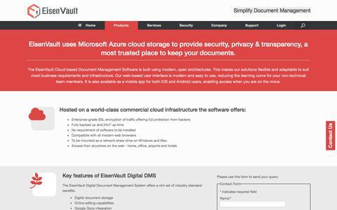 Screenshot of Products Page eisenvault.com - Cloud Based Document Management Software - captured Nov. 24, 2017