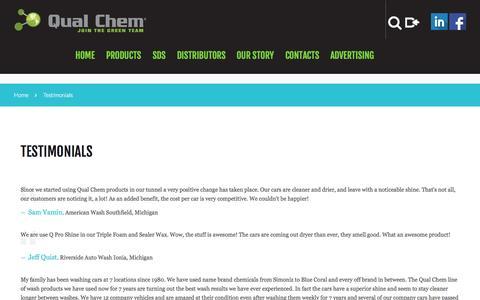 Screenshot of Testimonials Page qualchem.biz - Testimonials  |  Car wash chemicals at Qual Chem - captured Nov. 18, 2015