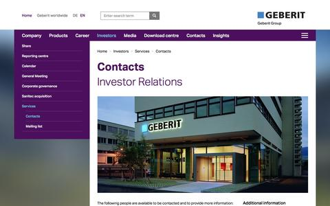 Screenshot of Services Page geberit.com - Contacts Investor Relations - captured March 29, 2016
