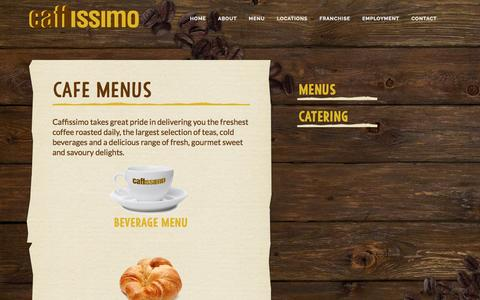 Screenshot of Menu Page caffissimo.com.au - Caffissimo - Perth's best cafes - Cafe Menus - captured March 15, 2016