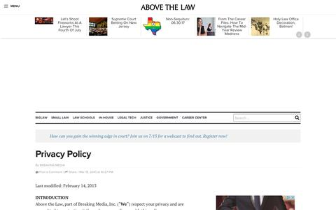 Screenshot of Privacy Page abovethelaw.com - Privacy Policy | Above the Law - captured July 2, 2017