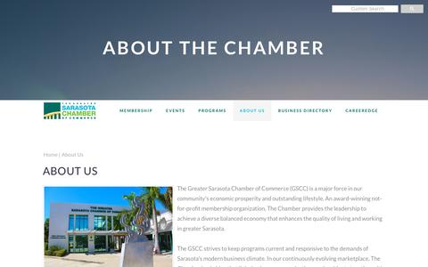 Screenshot of About Page sarasotachamber.com - About Us | Greater Sarasota Chamber of Commerce - captured Nov. 11, 2018