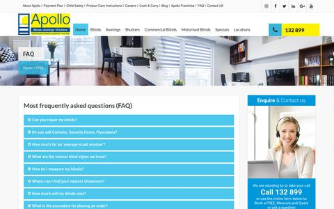 Screenshot of FAQ Page apolloblinds.com.au - FAQ at Apollo Blinds - captured Oct. 3, 2018