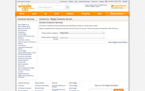Screenshot of Contact Page wiggle.com.au - Wiggle Customer Services - captured Oct. 31, 2014