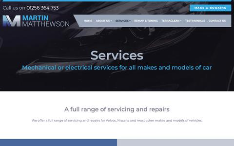 Screenshot of Services Page garagebasingstoke.co.uk - Services - Martin Matthewson - captured Oct. 17, 2018