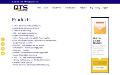 Screenshot of Products Page qtscom.com - QTS Communciations Product Offerings | QTS Communications - captured Oct. 19, 2016