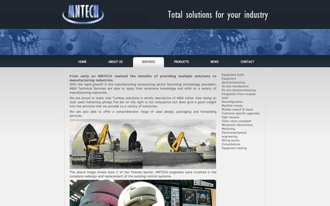 Screenshot of Services Page mntech.co.uk - Providing multiple solutions to manufacturing industries. - captured Oct. 3, 2014