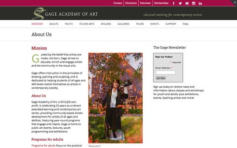 Screenshot of About Page gageacademy.org - Gage Academy of Art, Seattle – Classical Training for Contemporary Artists   –  About Us - captured Nov. 1, 2014