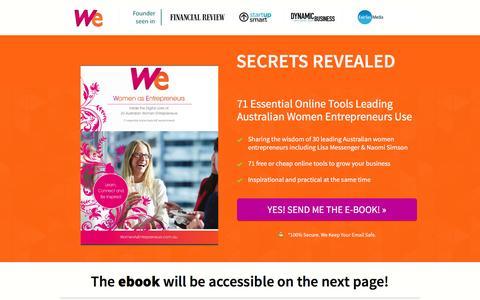 Screenshot of Signup Page womenasentrepreneurs.com.au - Ebook opt in - captured Aug. 14, 2016