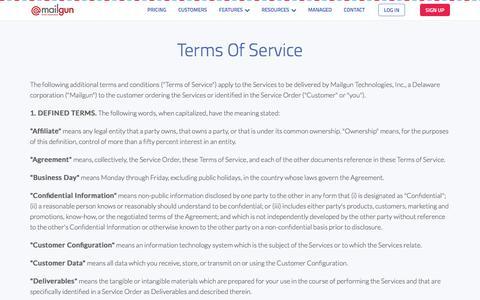 Terms of Service - Mailgun