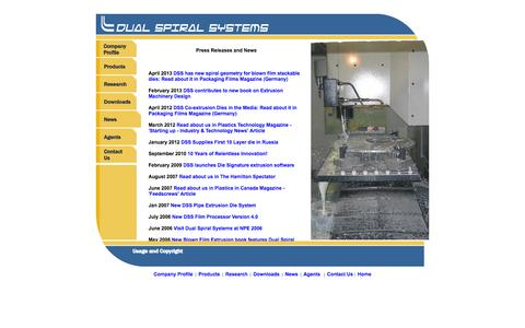 Screenshot of Press Page dualspiralsystems.com - Dual Spiral Systems, Press Releases and Company News - captured Oct. 27, 2014